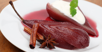 Pears in Red Wine & Star Anise with Cinnamon Yoghurt