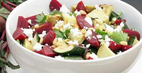 Beetroot, Kumara, Courgette & Feta Salad